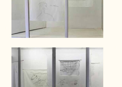 embroidery, installation overview, , garden of speech