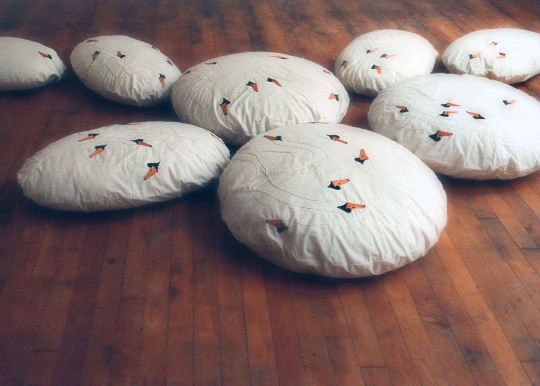 embroidery - swans - pillows
