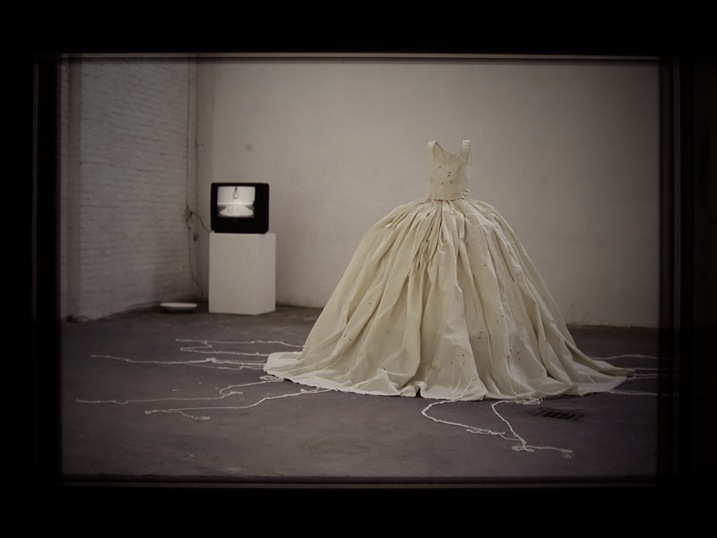 Performance Waiting, dress embroidered with swans, by Connie Dekker, Nijmegen